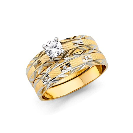FB Jewels 14K White and Yellow Gold Two Tone Ladies Cubic Zirconia CZ Wedding Band and Engagement Bridal Ring Two Piece Set Size 5.5](Jewel Tone Wedding)