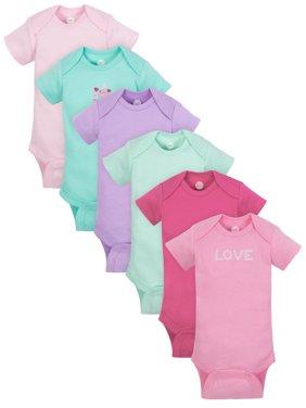 Short Sleeve Bodysuits, 6pk (Baby Girl)