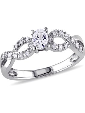 1/4 Carat T.G.W. Created White Sapphire and Diamond-Accent 10kt White Gold Infinity Engagement Ring