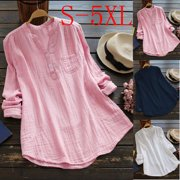 70bd50d18b8358 Women Retro V Neck Long Sleeve Casual Loose Baggy Tunic Tops Blouse Plus  Size S-