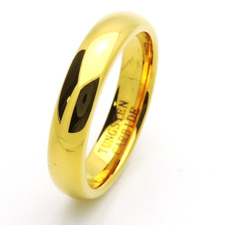 Men Women 5MM Comfort Fit Tungsten Carbide Wedding Band High Polish Domed Gold Tone Ring (7 to 15)