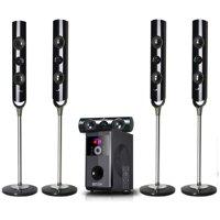 beFree Sound BFS-900 5.1 Channel Stand Surround Sound Bluetooth Speaker System in Black