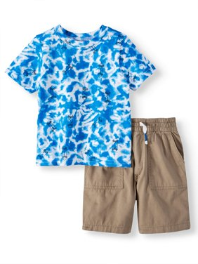 Toddler Boys' Tie Dye T-Shirt and Canvas Utility Shorts, 2-Piece Outfit Set