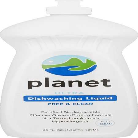 - Planet Ultra Dishwashing Liquid, Free & Clear, Certified Biodegradable, 25 oz.