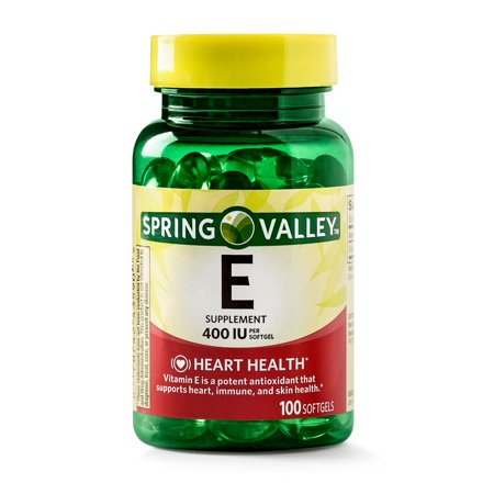 (2 Pack) Spring Valley Vitamin E Supplement, 400IU, 100 Softgel Capsules Beta Carotene Softgels Antioxidant Vitamins