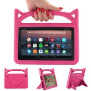 Kindle Fire 7 inch 5th 7th Generation Case, Goodest Durable Light Weight EVA Convertible Handle Stand Kids Child Friendly Shockproof Protective Cover Case for Amazon Fire 7 2015 2017 Tablet, Rose