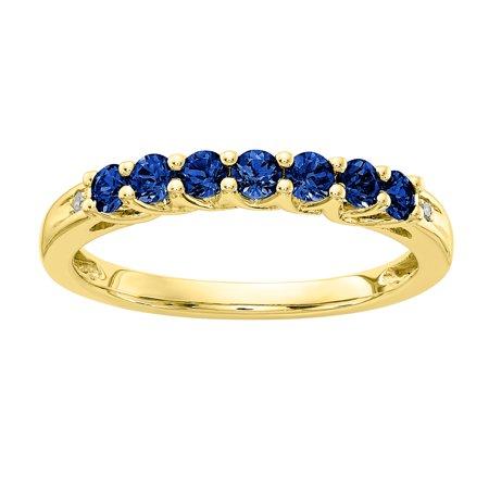 - 10K Yellow Gold Created Blue Sapphire Birthstone Band w/ Diamonds