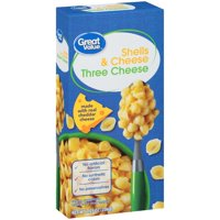 (6 Pack) Great Value Three Cheese Shells & Cheese, 7.25 oz
