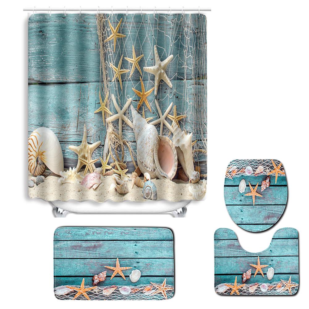 3x Bathroom Toilet Cover Rug Bath Mat Carpet Starfish Beach Non-Slip Lid Cover Bath Mats Bath