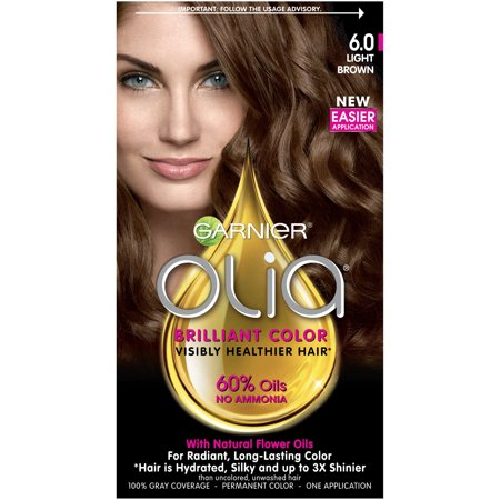 Garnier Olia Oil Powered Permanent Hair Color, 6.0 Light Brown - Silver Hair Paint