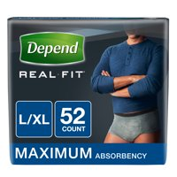 Depend Real Fit Incontinence Underwear for Men, Maximum Absorbency, L/XL, 52 Ct