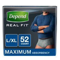 Depend Real Fit Incontinence Underwear for Men, Maximum Absorbency, L/XL, Grey (Choose your count)