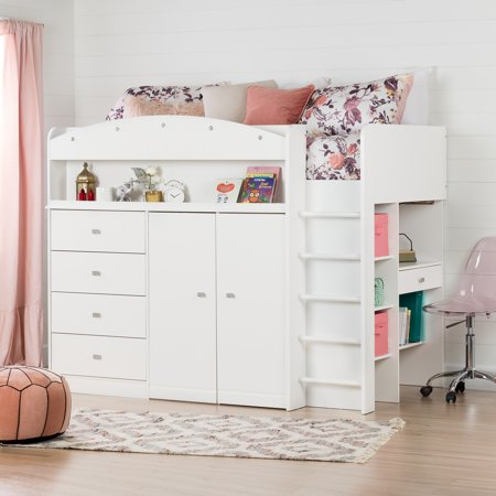 South Shore Tiara White Twin Loft Bed With Desk 39 Walmart Com