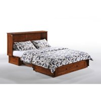 Night and Day Clover Cherry Murphy Cabinet Bed with Queen Memory Foam Mattress