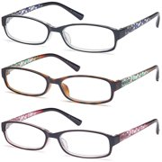 76ae6a7005 GAMMA RAY Readers 3 Pack of Thin and Elegant Womens Reading Glasses with  Beautiful Patterns for