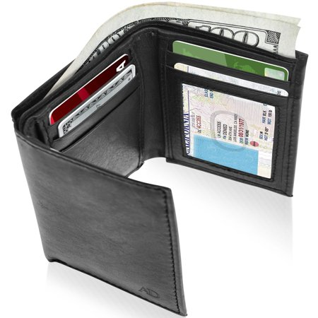 Black Mini Wallet - Genuine Leather Trifold Wallets For Men - Mens Trifold Wallet With ID Window RFID Blocking