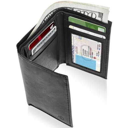 Genuine Leather Trifold Wallets For Men - Mens Trifold Wallet With ID Window RFID (Denver Nuggets Wallet)