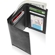 8e6bc3b1e1e1e Genuine Leather Trifold Wallets For Men - Mens Trifold Wallet With ID  Window RFID Blocking