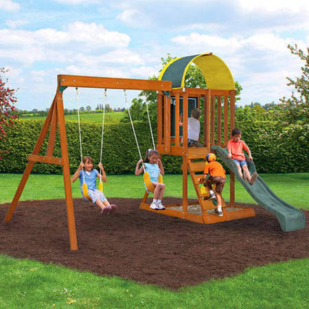 KidKraft Ainsley Wooden Swing (Rainbow Swing Set)