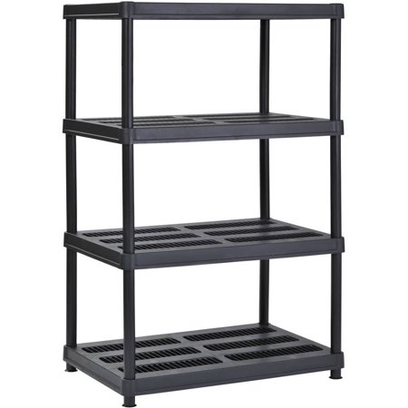 "Muscle Rack 36""W x 24""D x 56""H 4-Shelf Resin Shelving, Black"
