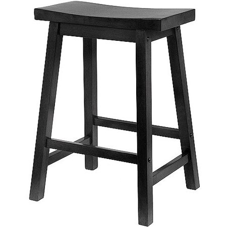 Winsome Wood Satori Saddle Seat Stool 24 Black Walmartcom