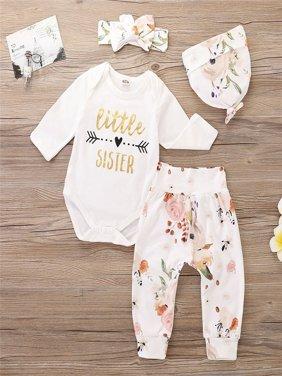 Cute Newborn Baby Girls Little Sister Letter Print Bodysuit Romper + Floral Long Pants Set  Autumn Clothes Outfits 0-24M