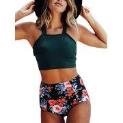 29e13af4a9b UKAP Bikini Set for Women Swimsuit Two Piece Bathing Suit Swimwear  Beachwear High Waist Shorts Tankini
