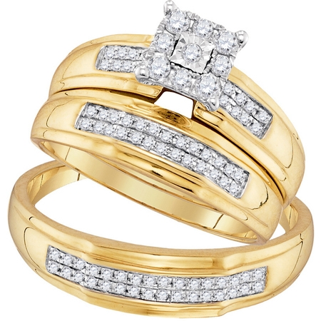 Gold Diamond Wedding Set (10kt Yellow Gold His & Hers Round Diamond Matching Bridal Wedding Ring Band Set 3/8 Cttw )