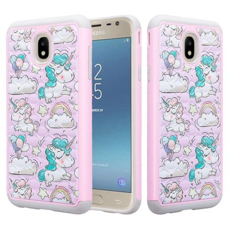 Samsung Galaxy J7 Star Case,J7 Crown Case,J7v 2nd Gen,J7 2018,J7 Refine Case Glitter Diamond Sparkle Shiny Bling Shock Proof Dual Layer Phone Case Cover - Multi Unicorn