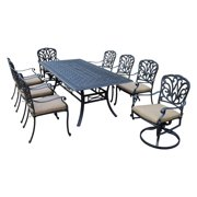 935f83c6f615 Oakland Living Hampton 9 Piece Rectangular Patio Dining Set with Stackable  and Swivel Chairs