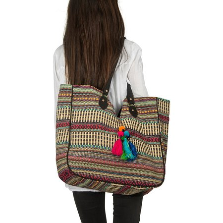 TribeAzure Large Women Shoulder Bag Tote Handbag Tassel School Everyday Beach Picnic Grocery Laptop