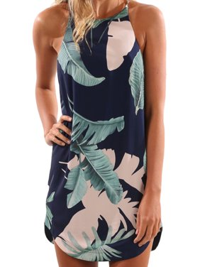 Casual Dresses for Women Summer Floral Print Sleeveless Strappy Loose Short Mini Dress Asymmetrical Hem Beach Sundress