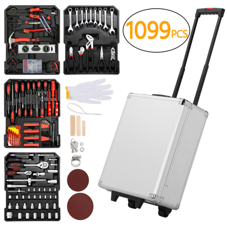 1099pcs Tool Kit Tool Set Aluminum Portable Case Mechanics Kit Box Organizer,Silver Door Skin Tool Kit