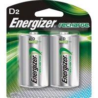 Energizer Rechargeable D Batteries, 2 Count