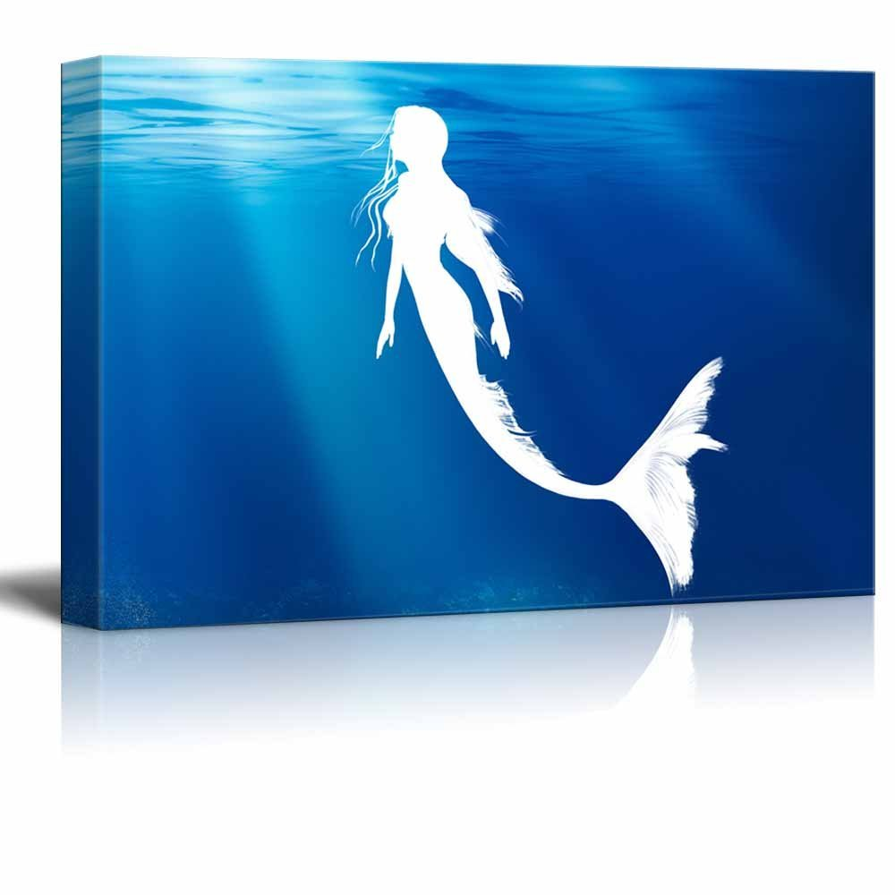 Wall26 Canvas Wall Art   A Swimming Mermaid   Gallery Wrap Modern Home Decor  | Ready
