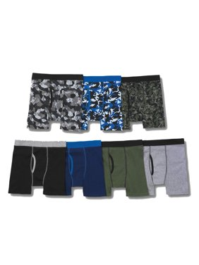 Hanes Boys' ComfortSoft Waistband Printed Boxer Brief, 7 Pack