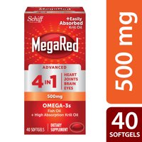 MegaRed Advanced 4 in 1 Omega-3 Fish Oil + Krill Oil Softgels, 500 Mg, 40 Ct