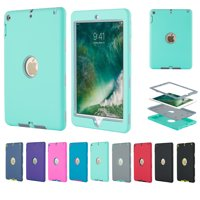 For iPad 9.7 2017 Shockproof Case 3 in 1 Hybrid Rubber Back Cover Shell, Mint + Gray
