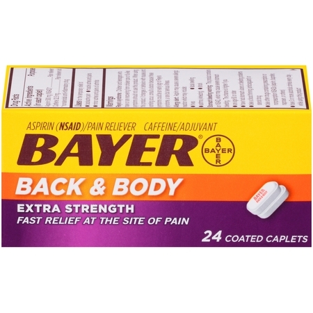 Extra Strength Coated Tablets - Bayer Back & Body Extra Strength Pain Reliever Aspirin w Caffeine, 500mg Coated Tablets, 24 Ct