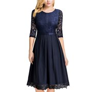 23ee65f5de8 MIUSOL Women s Vintage Half Sleeve Floral Lace Cocktail Party Pleated Swing  Dresses for Women (Navy