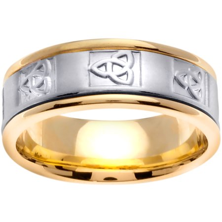14K Two Tone Gold Trinity Knot Celtic Comfort Fit Men's Wedding Band (8mm)