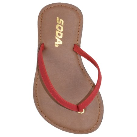 Soda Shoes Women Flip Flops Basic Plain Sandals Strap Casual Beach Thongs FELER Red Lipstick 5.5 Close Back Thong Sandal