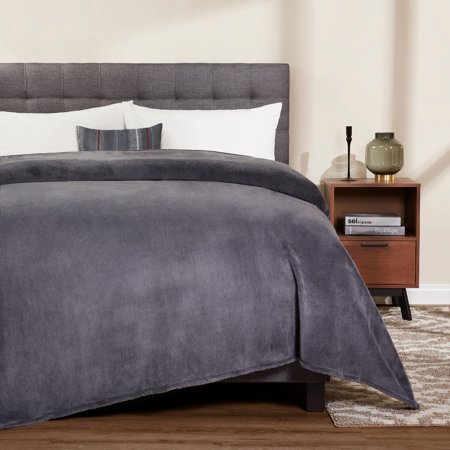 Mainstays Plush King Gray Bed Blanket, 1 (King Size Blanket Measurements)