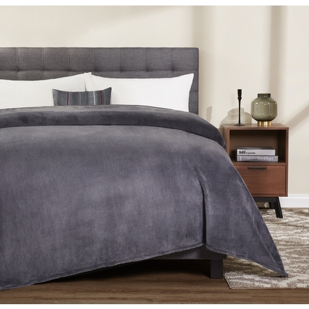 Mainstays Plush King Gray Bed Blanket, 1 Each