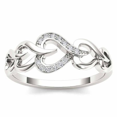 White Gold Heart Link (1/20 Carat T.W. Diamond 10kt White Gold Heart Linked Fashion Ring )