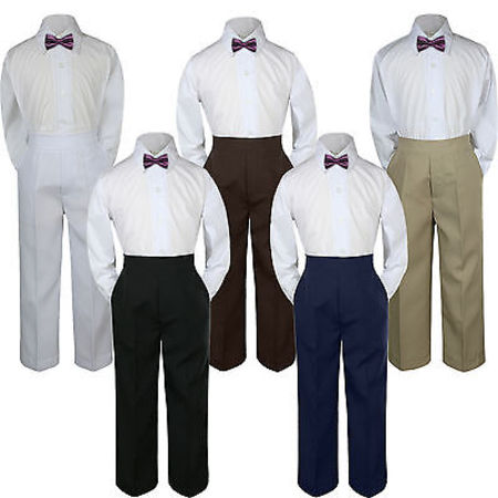 3pc Boy Suit Set Eggplant Bow Tie Baby Toddler Kid Formal Shirt Pants S-7 Church