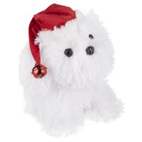 Holiday Time Fluffy White Dog Toy in a Hat