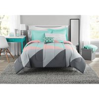 Mainstays Gray and Teal Bed in a Bag Comforter Set