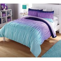 Latitude Purple Ombre Ruched Reversible Complete Bedding Set