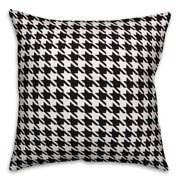 Black and White Houndstooth Plaid 18x18 Spun Poly Pillow Cover